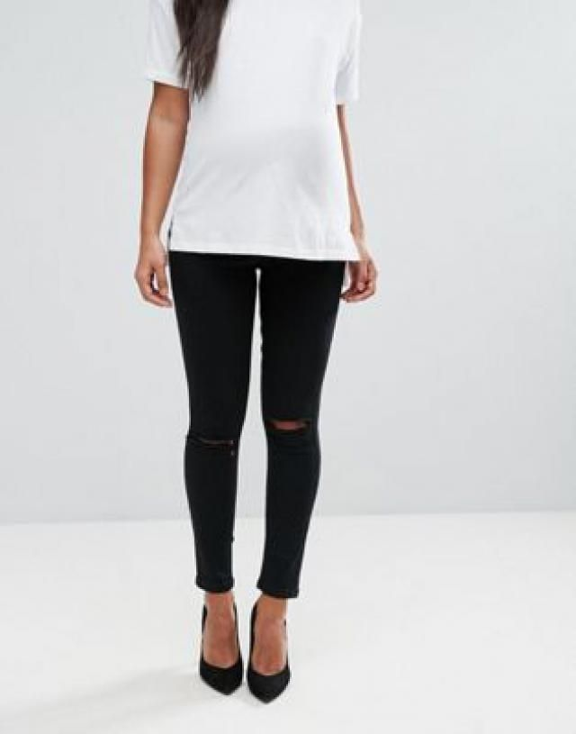 90ab3878c1b1b Maternity Ridley skinny jeans in clean black with ripped knees with over  the bump waistband