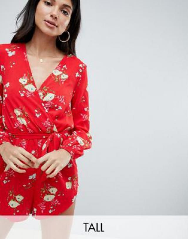 47536ad1cb0 Parisian Tall Floral Long Sleeve Wrap Playsuit