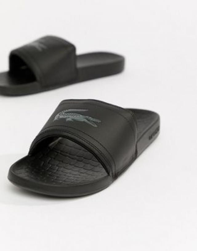 86e15269e918b7 Lacoste Fraisier croc sliders in black.  one strap flip flops ...