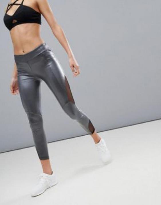 dcbfccfa02148e Kisaiya Wet Look Mesh Side Legging... | Z-Me ZAFUL