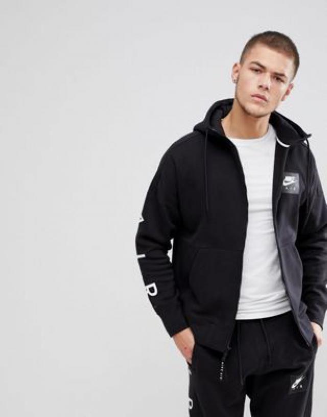 Nike Air Zip Through Hoodie With Arm Print In Black 886044-010 b2ed495f8