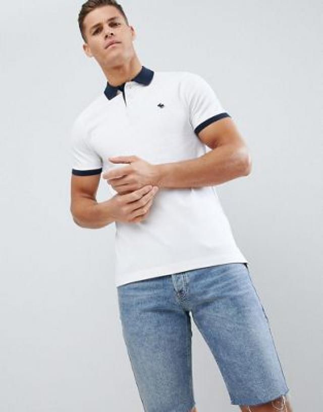 7474f7fb878a1 Abercrombie   Fitch contrast collar   cuff pique polo stretch slim fit in  white navy