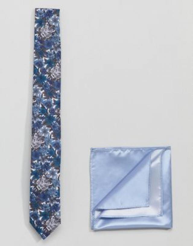f96f8a5a359b Gianni Feraud Libery Print Tiger Tie and Plain Pocket Square