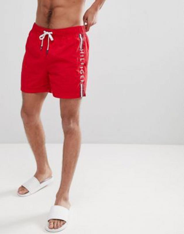 581f58bc8a Tommy Hilfiger Short Drawstring Side Stripe Logo Swim Shorts in Red
