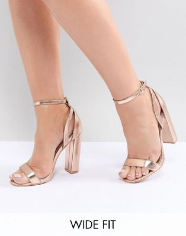 99a080b626d3 Lost Ink Wide Fit Rose Gold Blaise Block Heeled Sandals