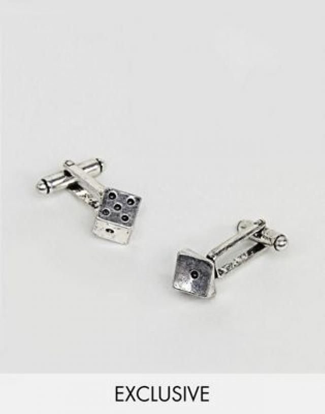 e58e11b2b270 Reclaimed Vintage inspired cufflinks with dice design in silver exclusive at