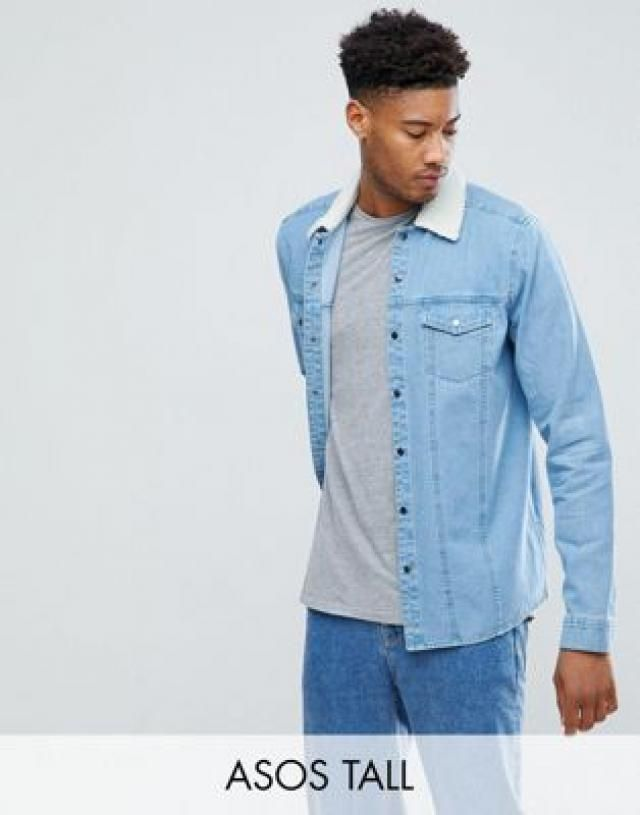 b28f67c9b29 TALL Denim Overshirt With Borg Outershell In Mid Wash