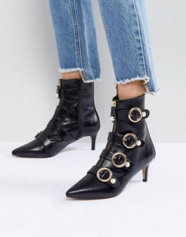 783914b9c793 Carvela Sparky Pearl Detail Leather Kitten Heel Ankle Boots