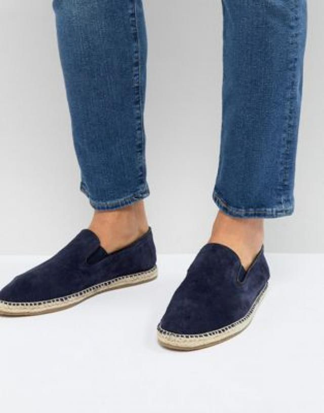 f8780e51f11 Frank Wright Slip On Espadrilles In Navy Suede