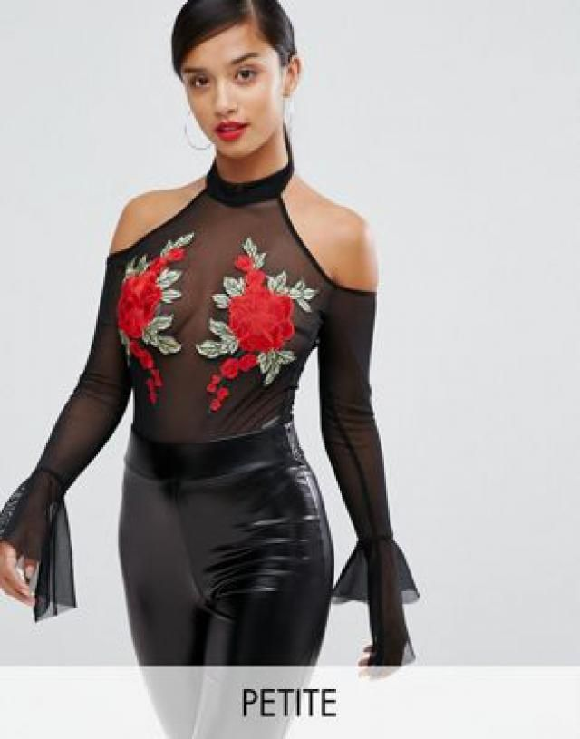 1997f43d8a96ad NaaNaa Petite Mesh Off Shoulder Body With Floral Applique