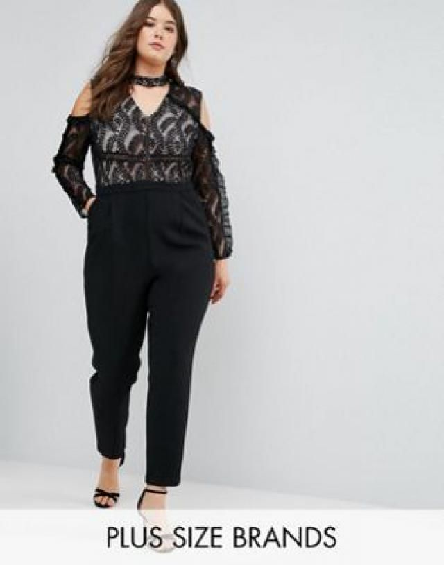 dc616d00c4b7 Truly You Cold Shoulder Lace Top Jumpsuit With Ruffle Sleeves