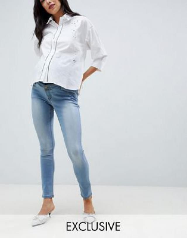 e6ede36351200 Bandia Maternity Over The Bump Skinny Jean With Removable Bump Band