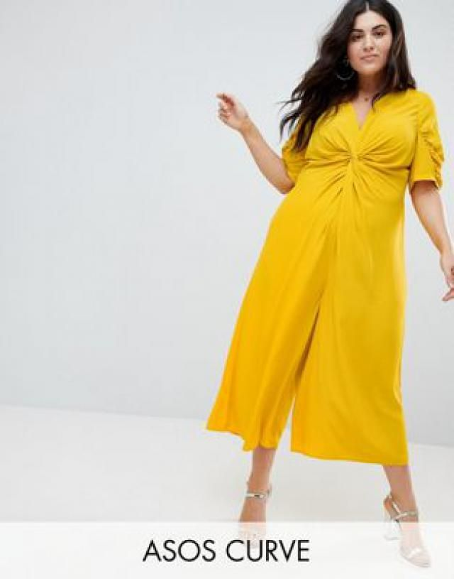 cd27442a3445 CURVE Tea Jumpsuit with Knot Front.  mustard jumpsuits ...
