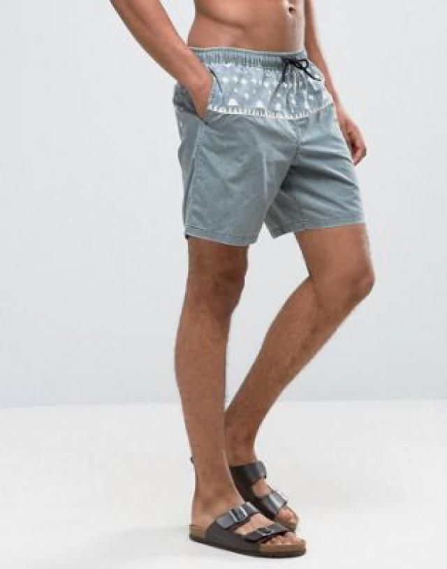 d927c93d11 Swim Shorts In Acid Wash With Aztec Print In Mid Length