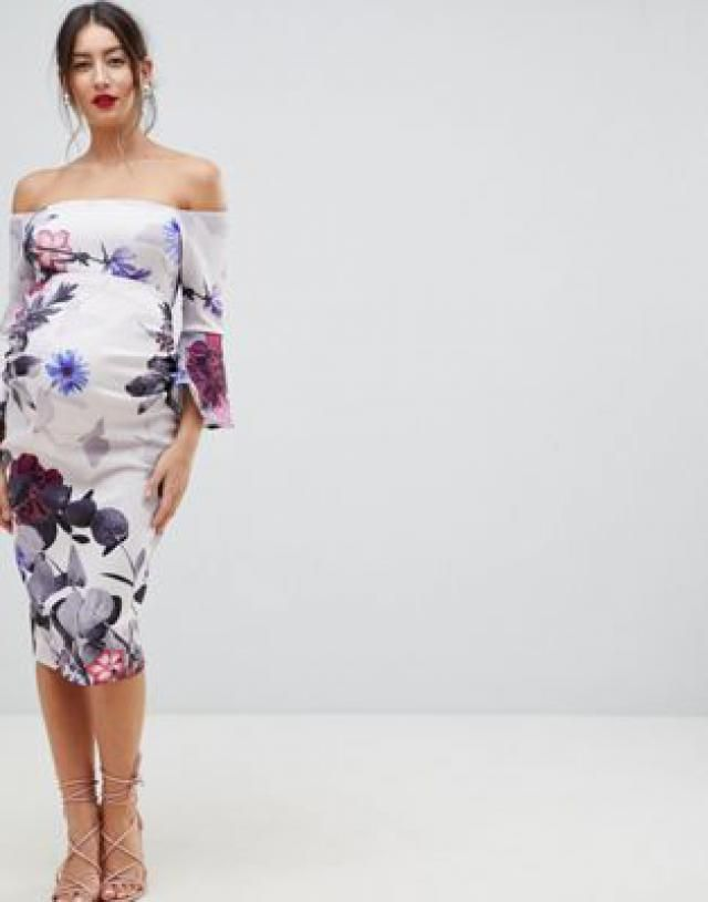 165618afeb True Violet Maternity bandeau frill sleeve midi bodycon dress in floral  print