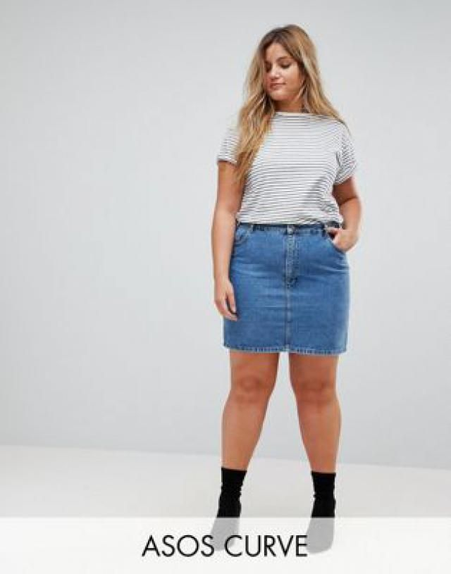 2ed221bc3502a Curve denim original high waisted skirt in midwash blue