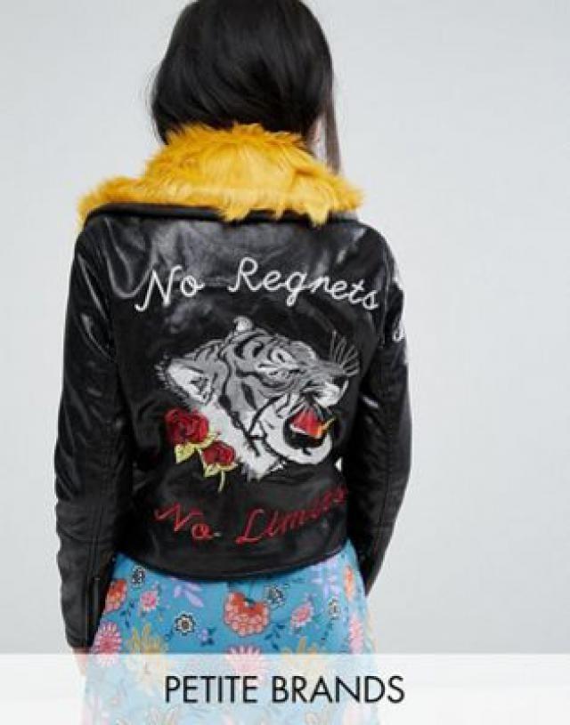 2651e863eb0b8 Glamorous Petite Biker Jacket With Contrast Fur Collar   Back Detail