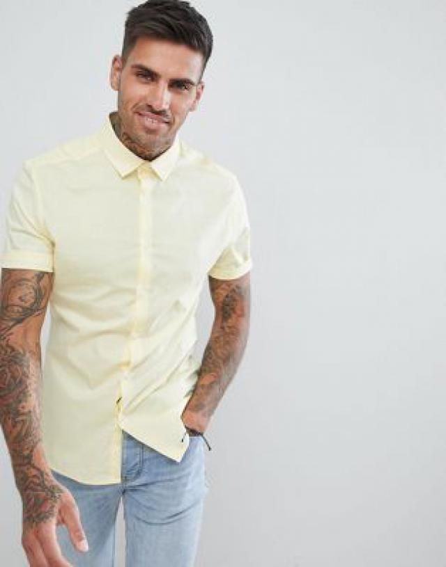 69350e520bd skinny shirt in yellow with short sleeves