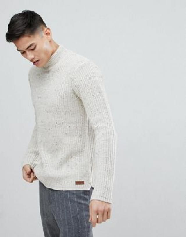 95d791f990 Solid Fishermans Jumper With Polo Neck In Nep