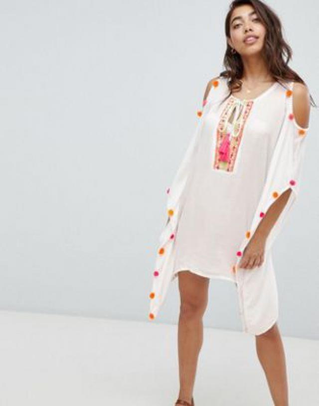 44be9737ce4 Anmol Cold Shoulder Beach Dress With Neon Pom Trim