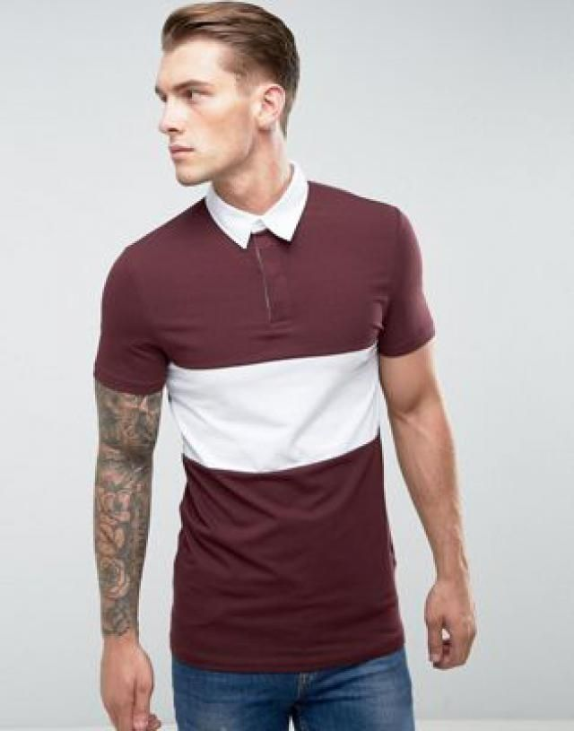 33b60ebd45c Longline Muscle Rugby Polo Shirt In Oxblood With Contrast Panel