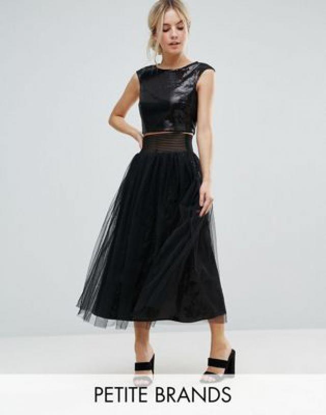 3616910e1458 Little Mistress Petite Allover Sequin Midi Skirt With Mesh Tulle Overlay