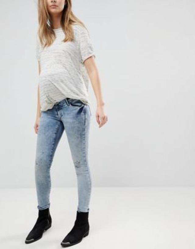 af91a64ea8c80 Supermom Maternity Distressed Skinny Over The Bump Jeans With Adjustable  Waist