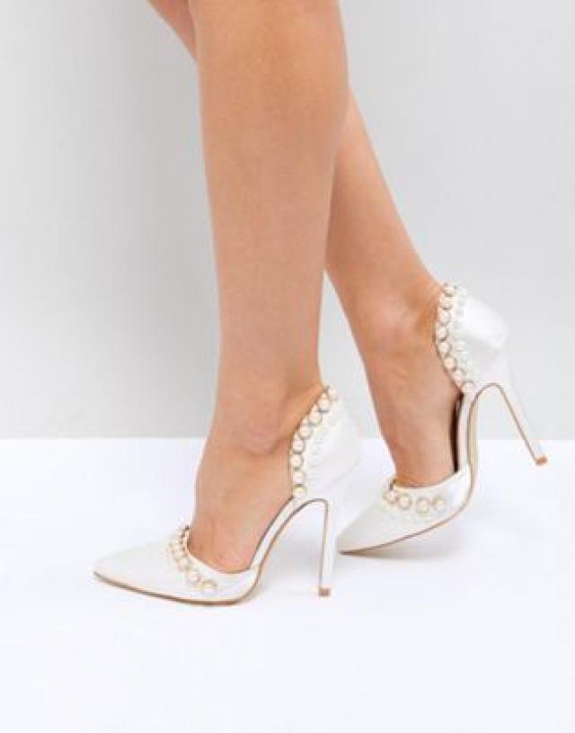 89706fa0c3 Be Mine Bridal Acacia Ivory Satin Faux Pearl Embellished Court Shoes