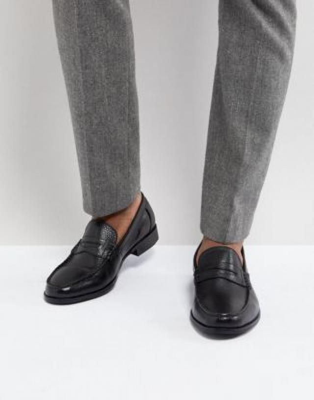 fa1280177345 Ben Sherman Penny Loafers In Pebble Black Leather