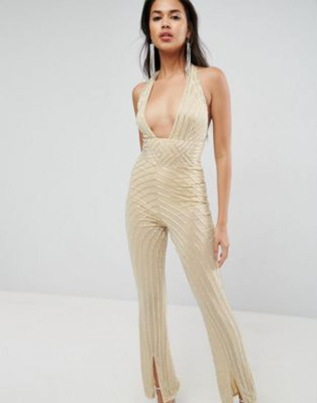 9b3bccdf98df Embellished Jumpsuit with Halter and Plunge Detail