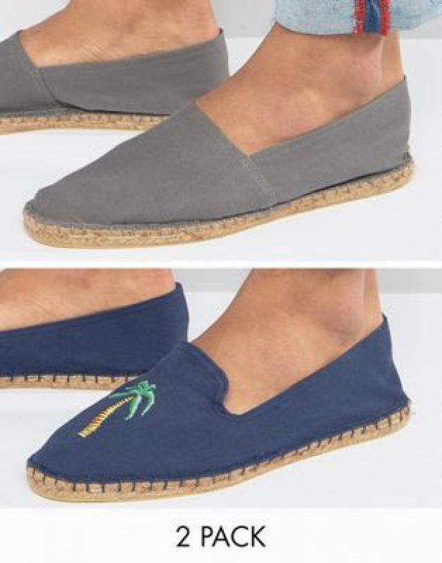 23a17b4a6b94 2 Pack Espadrilles In Navy And Grey With Palm Tree Print SAVE