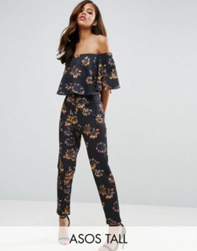 698d8ee86b9 TALL Scuba Jumpsuit with Ruffle Bardot in Winter Floral Print
