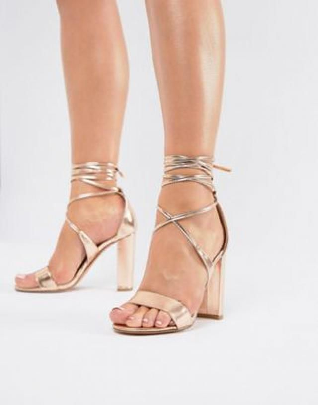 a5ccdf962770 True Decadence Rose Gold Ankle Tie Block Heeled Sandals