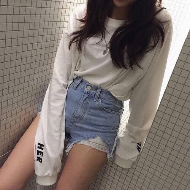 Can never go wrong with short shorts with a cute sweater.