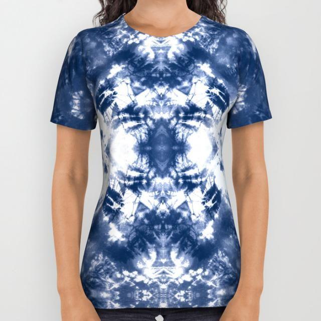 d1e3667cdd3 Shibori Tie Dye 4 Indigo Blue All Over Print Shirt