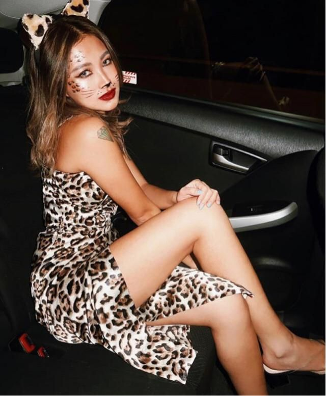 Halloween was good to show up with leopard dress