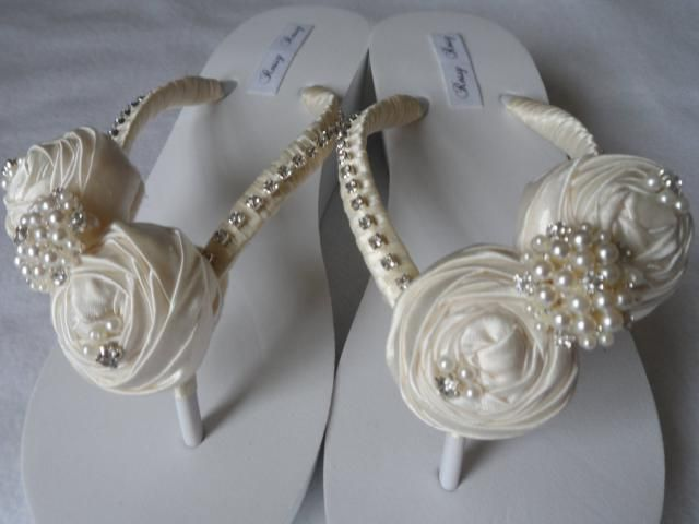 e209470a12a350 Ivory Bridal Wedge White Flip Flops   Wedding Satin Rolled Flower Flip Flops    Bridesmaids.