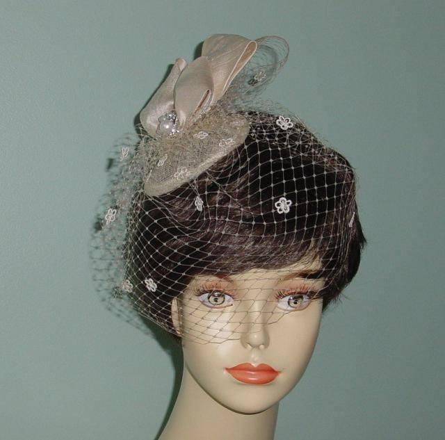 051740033da Wedding Bow Headpiece Cocktail Hat Birdcage Veil French Veiling Champagne  or Ivory Bridal Accessory
