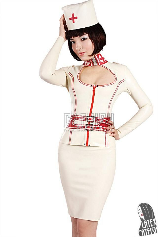 Sexy Nurse Uniform Latex Dress