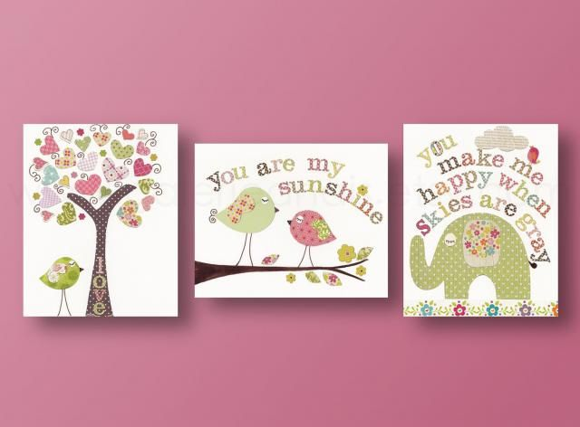 Artwork Nursery Art Prints Baby Decor Kids Wall Children Tree Bird Elephant