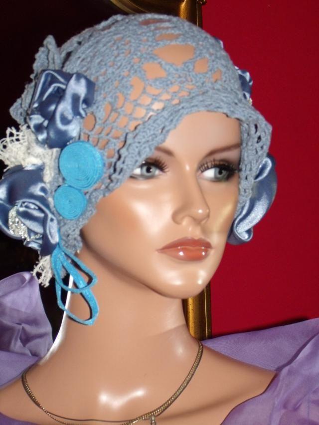 49e30f82035 Flapper Hat Cloche 1920 style Personalized Unique Crochet Millinery Floral