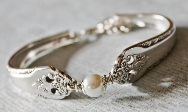Vintage Silver Spoon Bracelet Pattern Name Lovely Lady Circa 1937 Repurposed