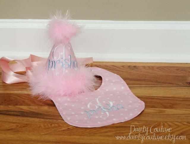 Girls First Birthday Hat And Bib