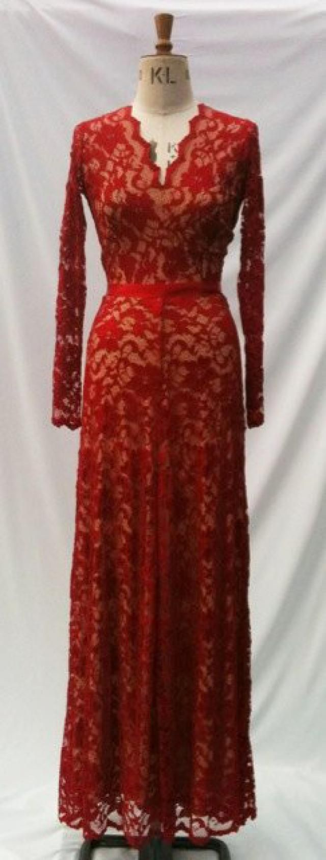 fff25ed730 Baylis   Knight Red Nude LACE Princess Kate Middleton Long Sleeve MAXI  Flared Skirt Low Cut