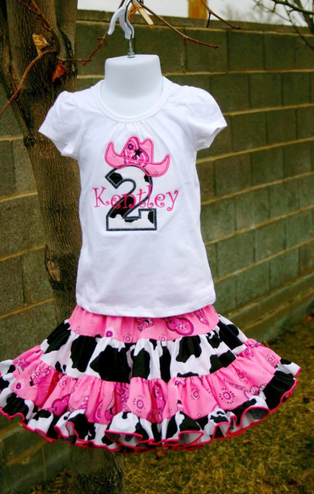 Ariamps Angels Pink Cowgirl Birthday Outfit Monogrammed Personalized Shirt Amp Full Twirling