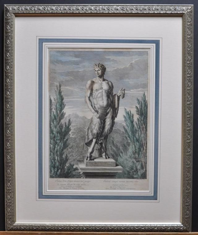 Un satyre tenant une grappe de raisin, engraving by Jean Le Pautre,1672 - A statue of a satyr holding a set of pipes an…
