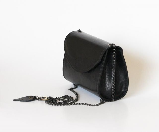 d6611ac32 Black leather bag small purse black leather handbag Dalfia women unique leather  bags