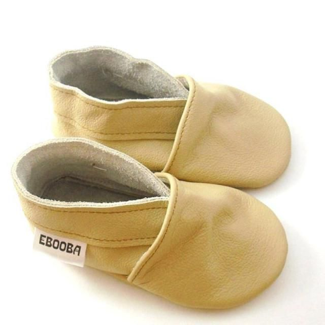 Genuine Leather Beige Baby Shoes, Newborn Shoes, Baby Moccasins, Crib Shoes, Baby