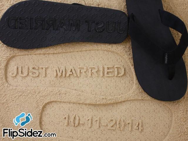 3350a1a5af7c9 Custom JUST MARRIED flip flops - Wedding   Honeymoon Sandals  check size  chart