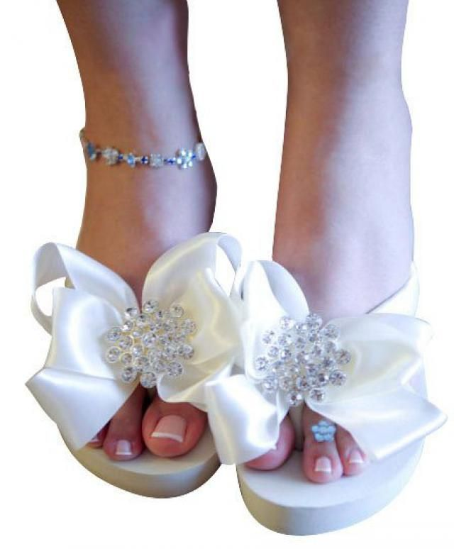 b3d5cfa80d53c Ivory White Bridal Flip Flops -Wedding Wedge Flip Flops with Heel or Flat -  Jewel